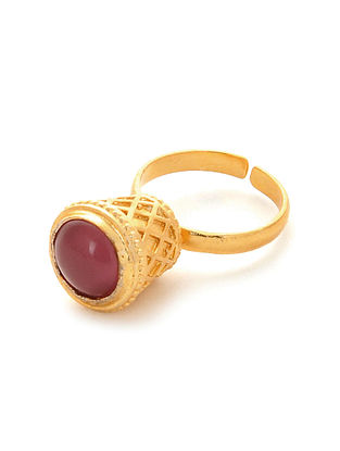 Pink Gold Plated Adjustable Ring