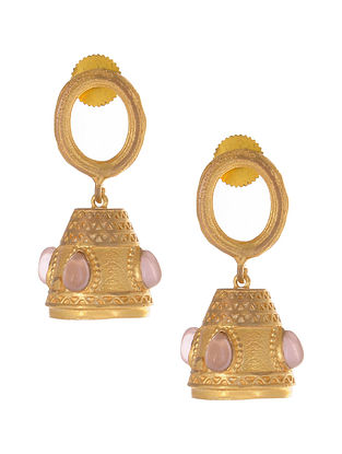 Pink Gold Plated Jhumki Earrings