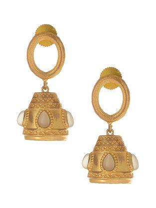 Green Gold Plated Jhumki Earrings