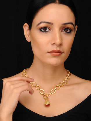 Pink Green Gold Plated Necklace