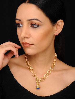 Blue Pink Gold Plated Necklace