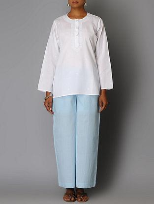 White Chikankari Embroidered Cotton Tunic
