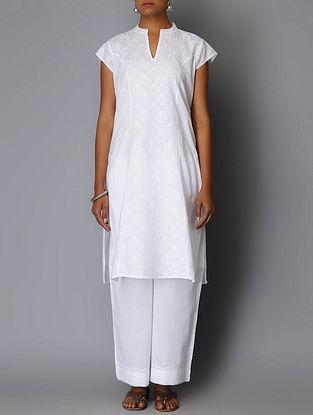 White Chikankari Embroidered Princess line Kurta