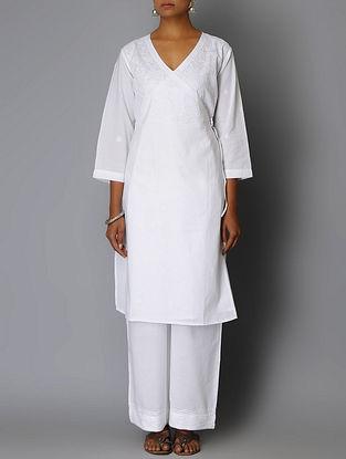 White Chikankari Embroidered Angrakha Cotton Kurta