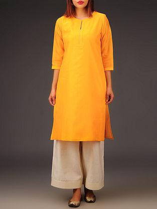 Yellow Chanderi Zari Stitch Detailed Kurta
