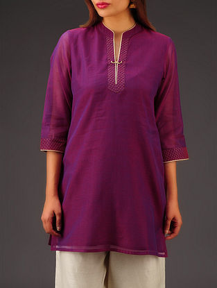 Purple Chanderi Zari Stitch Detailed Tunic