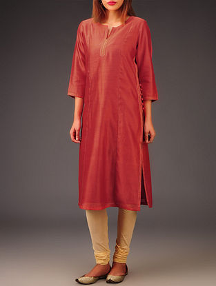 Red Chanderi Zari & Button Detailed Kurta