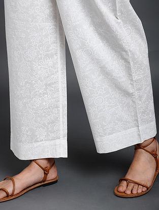White Khari Block-Printed Cotton Pants