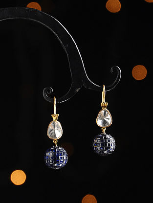 Gold and Uncut Diamond Earrings with Blue Sapphire