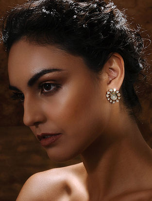 Gold and Uncut Diamond Earrings