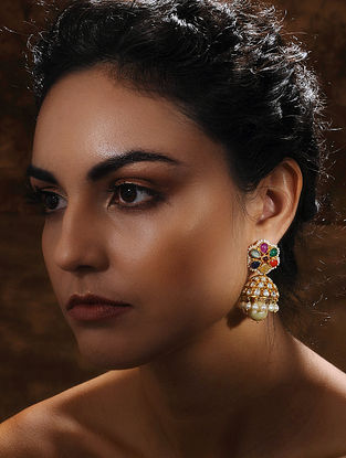 Gold and Uncut Diamond Earrings with Navratan Stones and Pearls