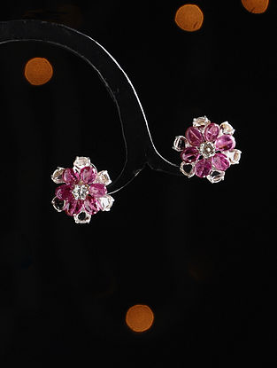 Gold and Rose Cut Diamond Earrings with Ruby