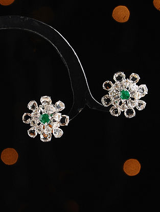 Gold and Rose Cut Diamond Earrings with Emerald