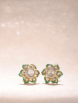 Green Enameled Diamond Polki Gold Earrings
