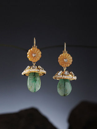Yellow Sapphire and Emerald Polki Diamond Gold Earrings