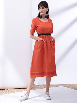 Orange Cotton Dress with Pockets