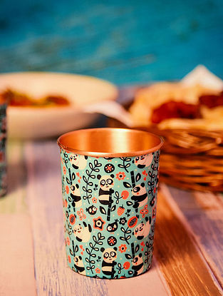 Panda Blue Handcrafted Copper Glass (350 Ml) (Set of 2)