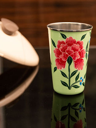 Green Handcrafted Steel Tumblers (400 Ml) (Set of 2)