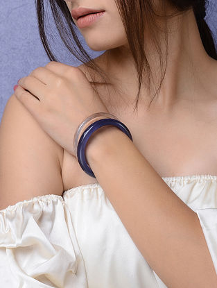 White-Blue Glass Crystal Bangles (Set of 2) -Size 2/4