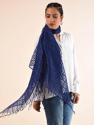 Blue Handwoven Cotton Silk Stole