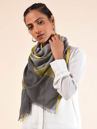 Grey-Yellow Handwoven Cotton Silk Stole