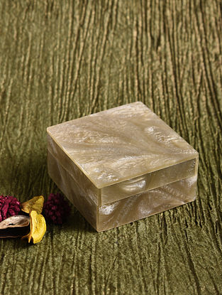 Grey Resin and MDF Box (L - 3in, W - 3in, H - 1.6in)