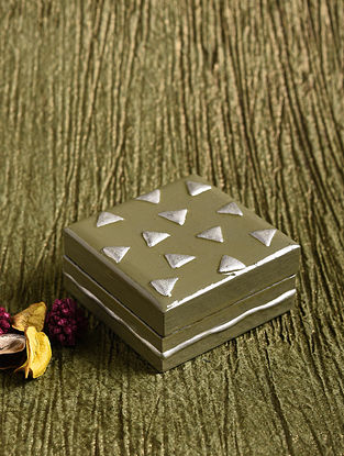 Grey and Silver Wood Box (L - 3in, W - 3in, H - 1.3in)