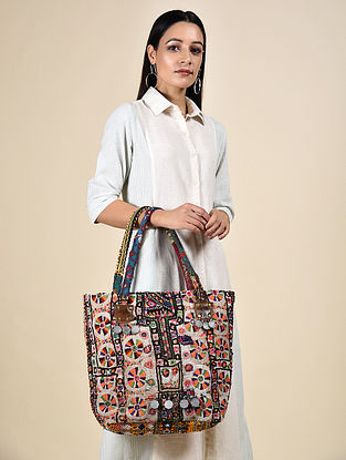 Multicolored Thread Embroidered Tote with Mirrors and Coins