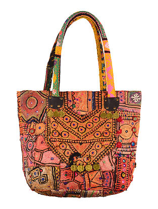 Multi-Color Embroidered Tribal Tote Bag