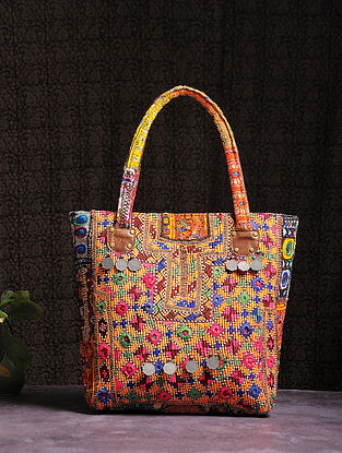 Multicolored Thread-embroidered Tote with Mirrors and Coins