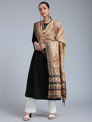 Beige-Brown Block-printed Tussar Silk Dupatta