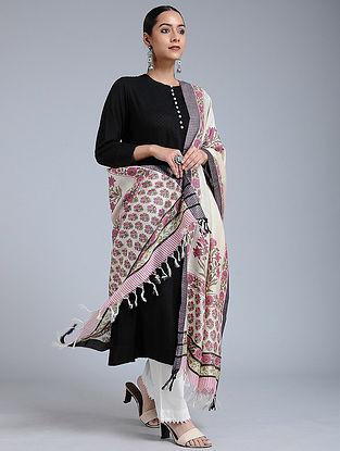 Ivory-Pink Block-printed Tussar Silk Dupatta