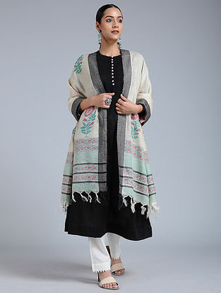 Ivory-Black Block-printed Tussar Silk Dupatta