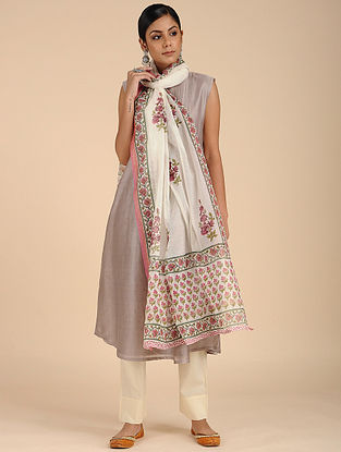 Ivory-Red Block-printed Chanderi Dupatta