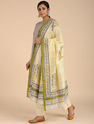 Yellow-Green Block-printed Chanderi Dupatta