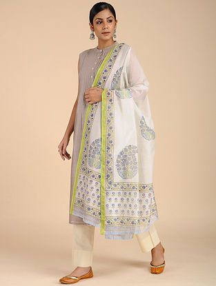 Ivory-Blue Block-printed Chanderi Dupatta
