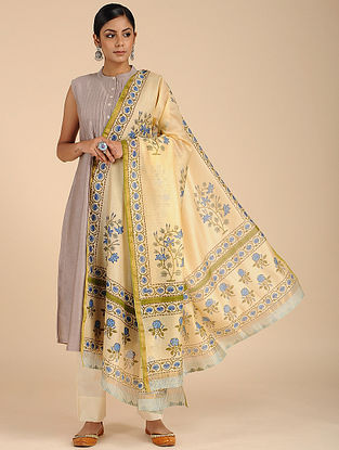 Yellow-Blue Block-printed Chanderi Dupatta