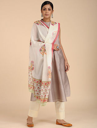 Ivory-Pink Block-printed Chanderi Dupatta