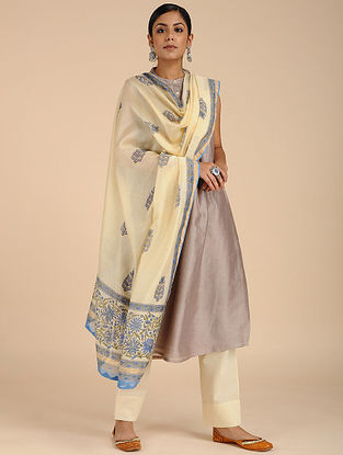 Ivory-Green Block-printed Chanderi Dupatta