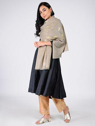 Beige Gold Leaf Khari-Printed Wool Shawl