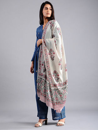 Ivory-Pink Block-printed Wool Shawl