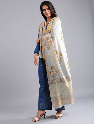 Ivory-Green Block-printed Wool Shawl