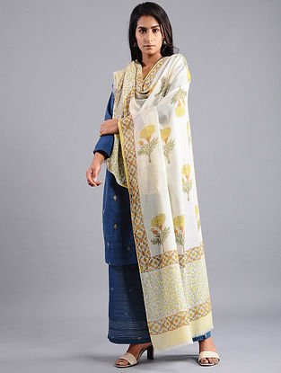 Ivory-Yellow Block-printed Wool Shawl