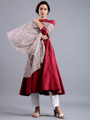 Ivory-Red Block-printed Wool Shawl