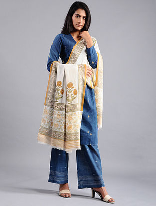 Ivory-Mustard Block-printed Wool Shawl