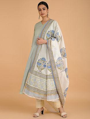 Ivory-Blue Block-printed Chanderi Dupatta
