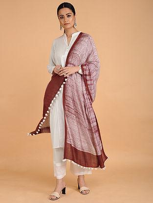 Ivory-Red Shibori-dyed Cotton Blend Dupatta with Tassels