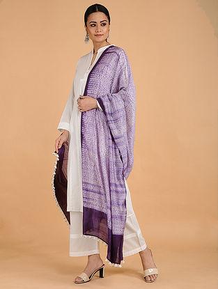 Purple-Ivory Shibori-dyed Cotton Blend Dupatta with Tassels