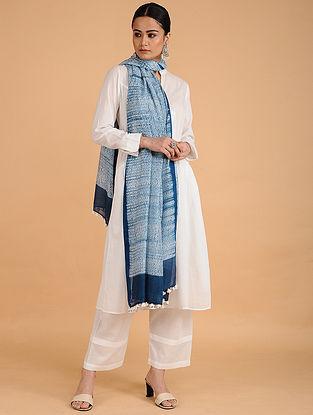 Blue-Ivory Shibori-dyed Cotton Blend Dupatta with Tassels