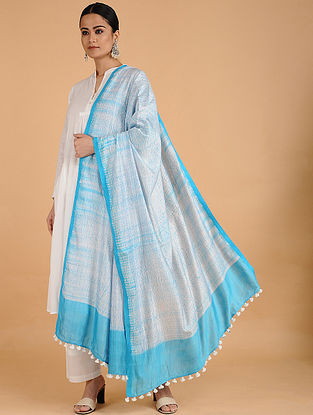 Ivory-Blue Shibori-dyed Cotton Blend Dupatta with Tassels